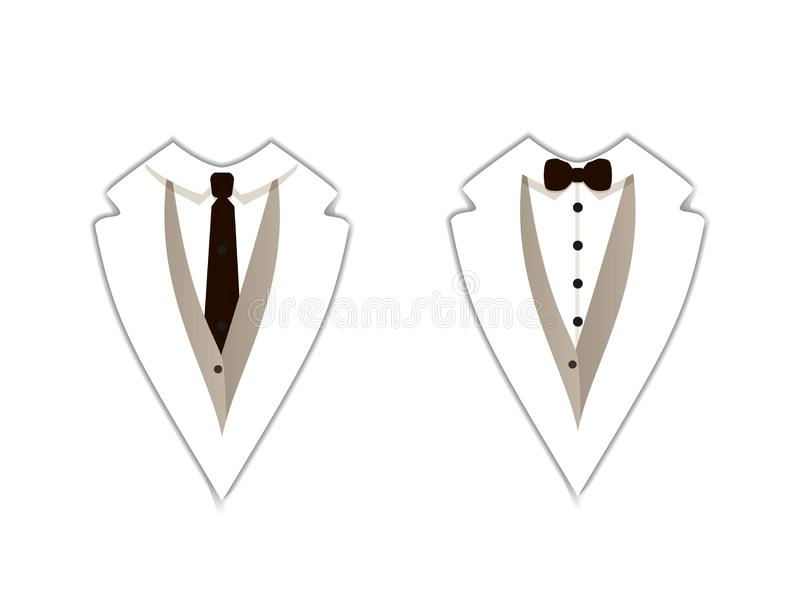 Vector Icons: White Tuxedo, Official Clothing, Straight Tie and Bow Tie, Flat Signs. royalty free illustration