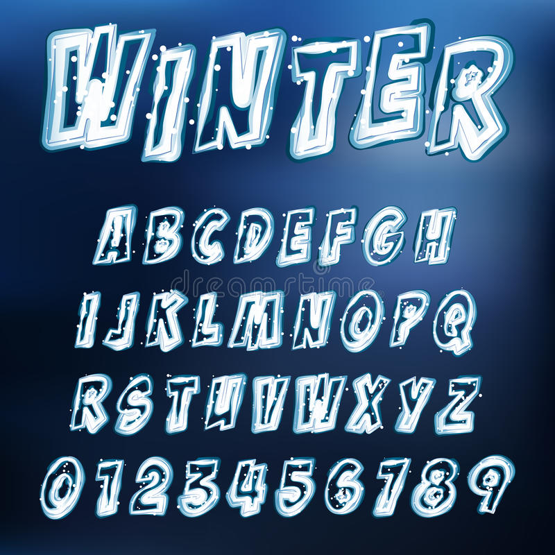 Vector icy font royalty free illustration