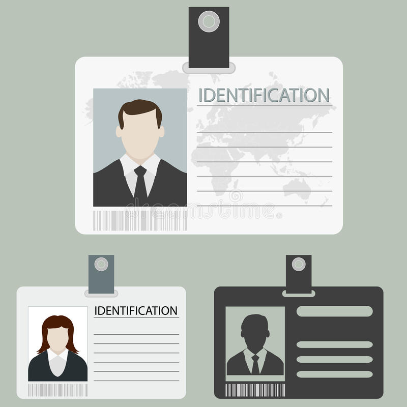 Vector id card set. ID card set with male and female photo templates isolated. Vector Flat design style royalty free illustration