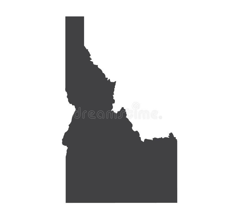 Vector Idaho Map silhouette. Isolated Illustration. Black on White background royalty free illustration