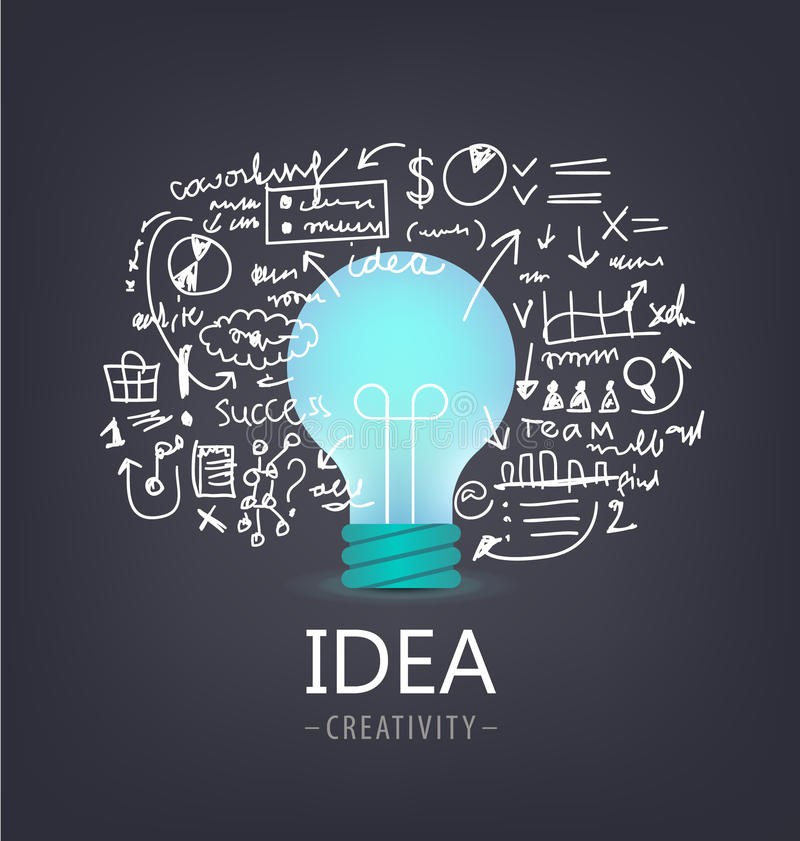 Vector idea concept. Bulb with hand drawn brainstorm, infographics around. Dark background stock illustration