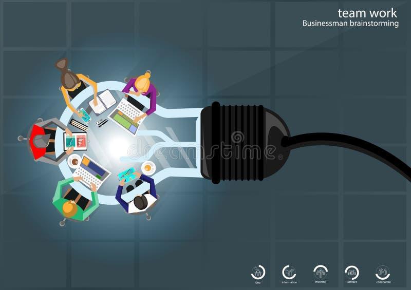 Vector ideias da sessão de reflexão do homem de negócios para laptop leves, pena móvel da tabuleta, lápis, diário, arquivos e xíc ilustração royalty free