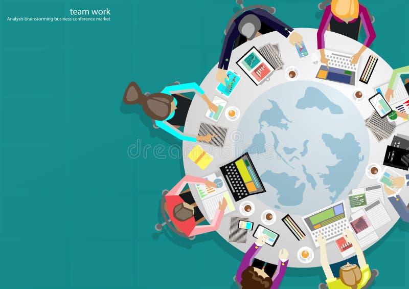 Vector ideias da sessão de reflexão do homem de negócios para um projeto liso do telefone celular, da tabuleta, do portátil, do d ilustração stock