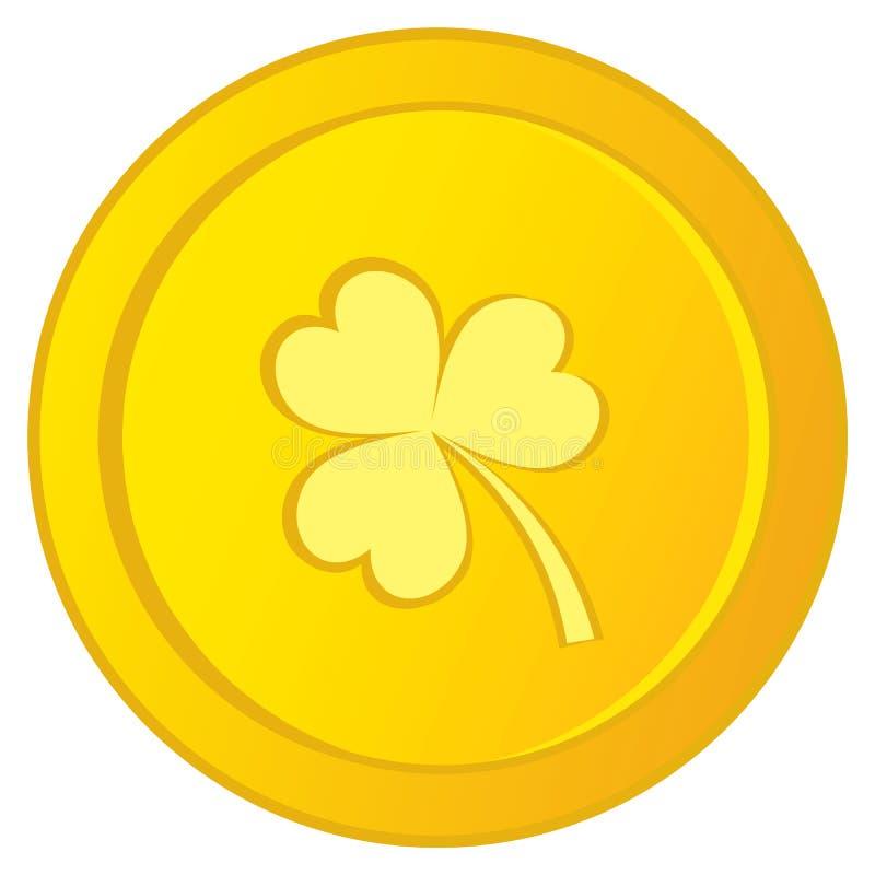 Vector Iers Gouden Muntstuk met Klaverbeeld Gouden Muntstuk met drie-Blad Kruidnagel royalty-vrije illustratie