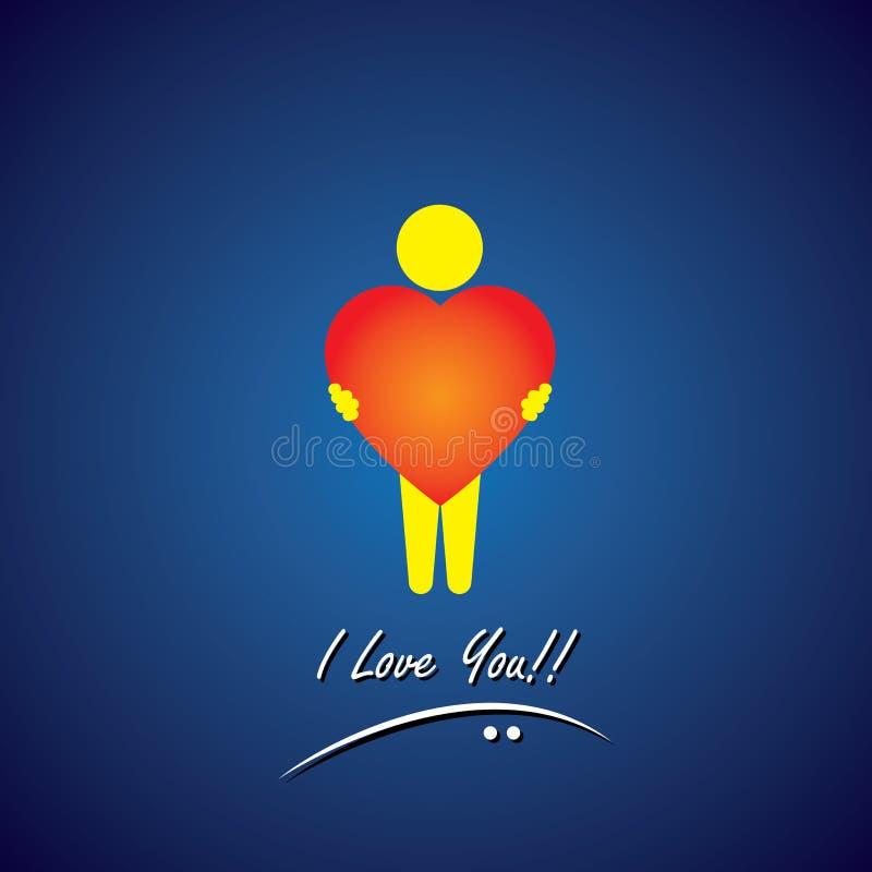 Vector Ikone der Liebe, des Mitleids, der Empathie u. der Sorgfalt lizenzfreie abbildung