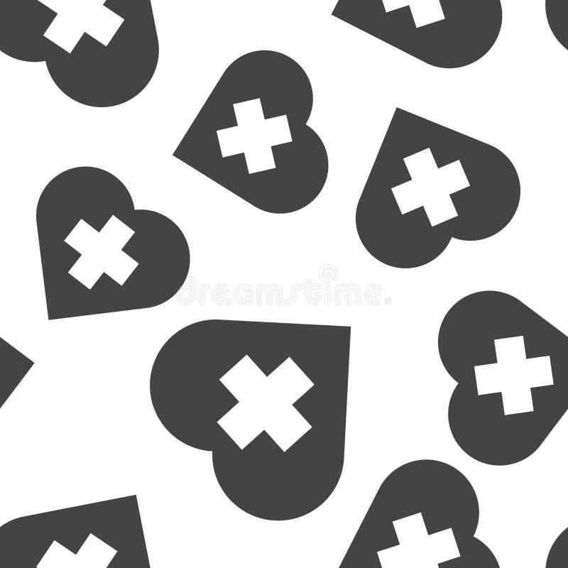 Vector Ikone des Kreuzes im Herzen auf einem grauen Hintergrund Vektorillustration von Medizin auf nahtlosem Muster des Gesundhei stock abbildung