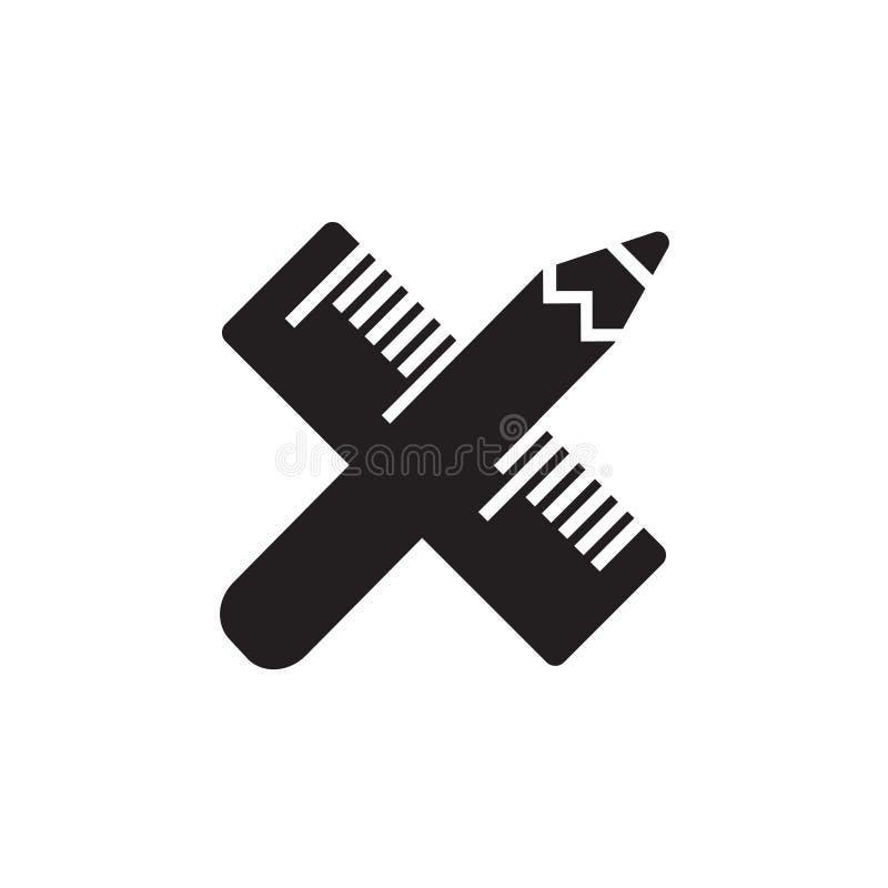 Vector Ikone oder Illustration mit gekreuztem Bleistift und Machthaberwerkzeug in der schwarzen Farbe stock abbildung