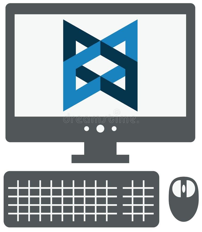 Vector Ikone von Personal-Computer mit Rückgrat js unterzeichnen auf dem Sc stock abbildung