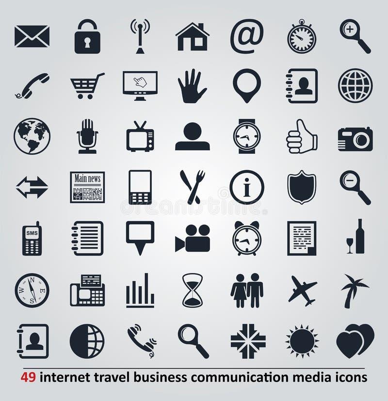 vector Ikonen für Internet, Reise, Kommunikation a lizenzfreie abbildung