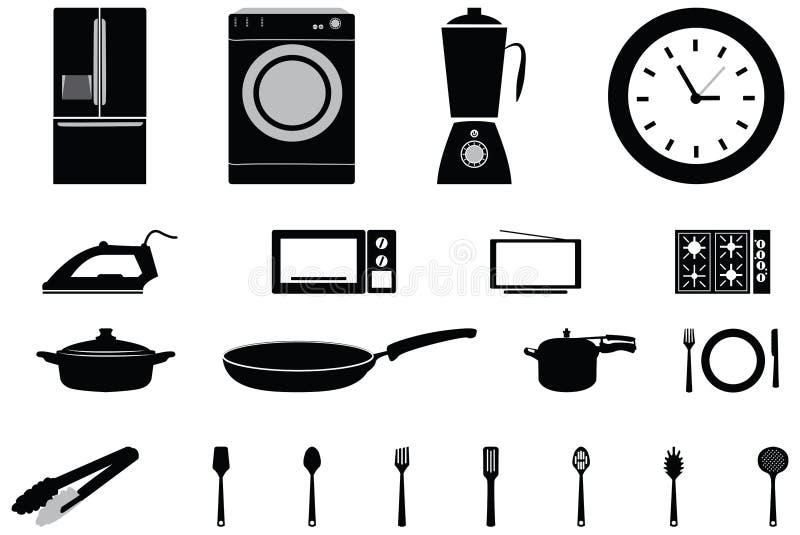 Vector Ikonen von elektronischem Haushaltsgeräten und Verbraucher lizenzfreie abbildung