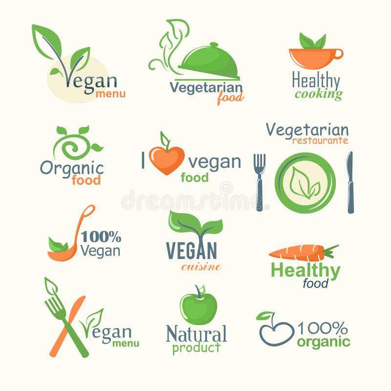 Vector Ikonen von organischen Naturkost-, Vegetarier- und Vegetarierzeichen stock abbildung