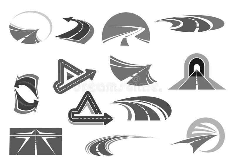 Vector Ikonen von Straßentunnels und von Landstraßenzeichen lizenzfreie abbildung