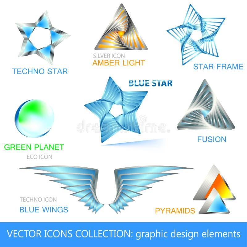 Vector Ikonen, Zeichen und Auslegungelementansammlung lizenzfreie abbildung