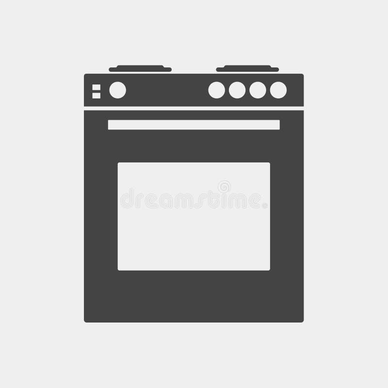 Vector Ikonengasherd mit Ofen für eine Küche Schwarzer Kocher auf w vektor abbildung