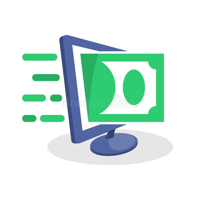 Vector Ikonenillustration mit digitalen Werbekonzeptionen über Finanz- Informationen, on-line-- Geldüberweisungsgeschäfte, on-lin lizenzfreie abbildung