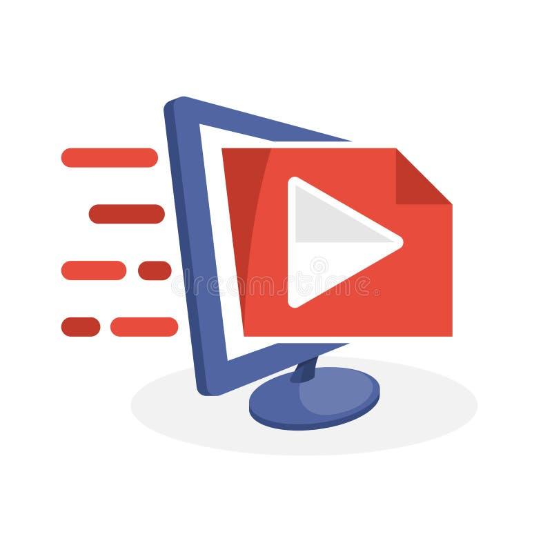 Vector Ikonenillustration mit digitalen Werbekonzeptionen über Multimediaservice-Informationen lizenzfreie abbildung