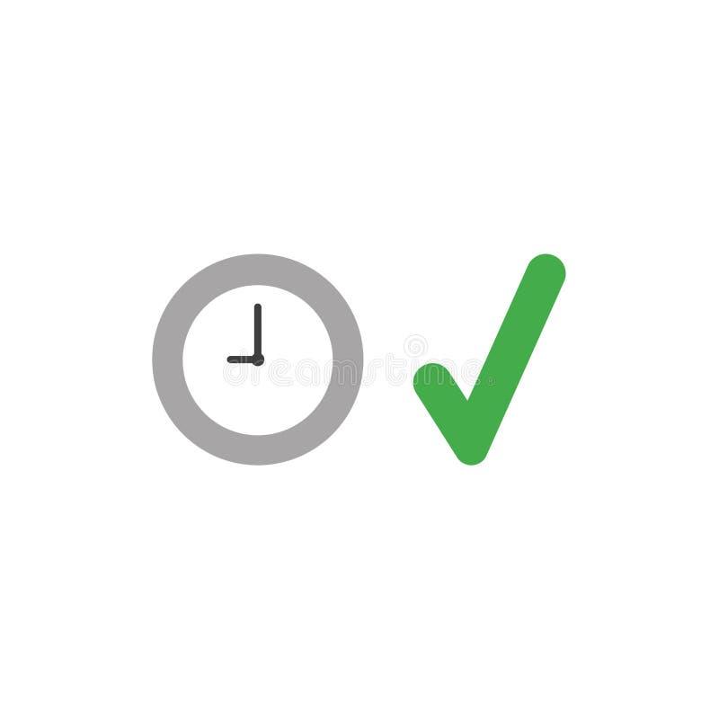 Vector Ikonenkonzept der Uhrzeit mit Häkchen lizenzfreie abbildung