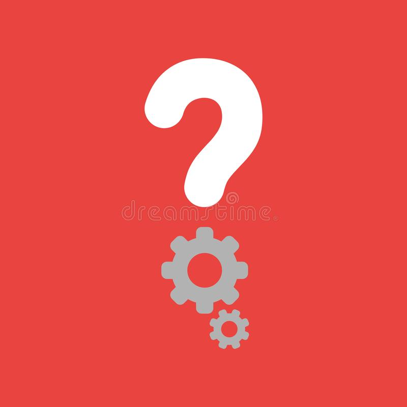Vector Ikonenkonzept des Fragezeichens mit Gängen auf rotem backgroun stock abbildung
