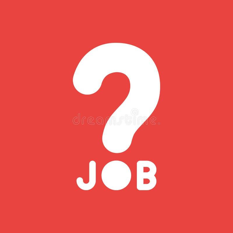 Vector Ikonenkonzept des Jobwortes mit Fragezeichen auf rotem backgr lizenzfreie abbildung