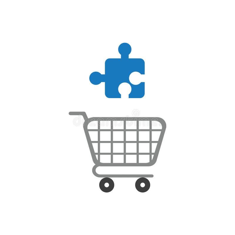 Vector Ikonenkonzept des zackigen Stückes des Puzzlespiels über Warenkorb lizenzfreie abbildung