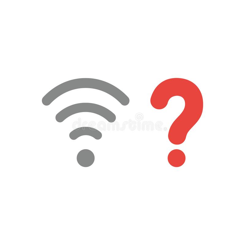 Vector Ikonenkonzept drahtlosen wifi Symbols mit Fragezeichen lizenzfreie abbildung