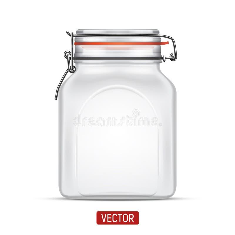 Vector il barattolo di vetro del quadrato vuoto della balla con il coperchio della cima dell'oscillazione isolato sopra i precede royalty illustrazione gratis
