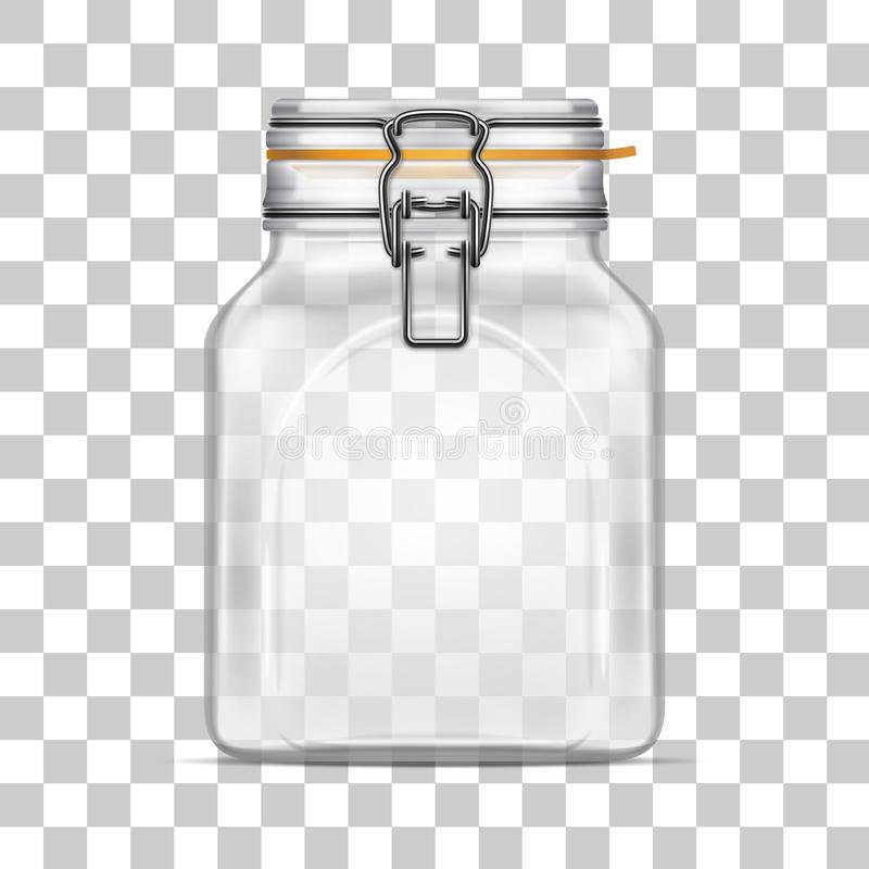 Vector il barattolo di vetro della balla quadrata vuota con il coperchio della cima dell'oscillazione illustrazione di stock