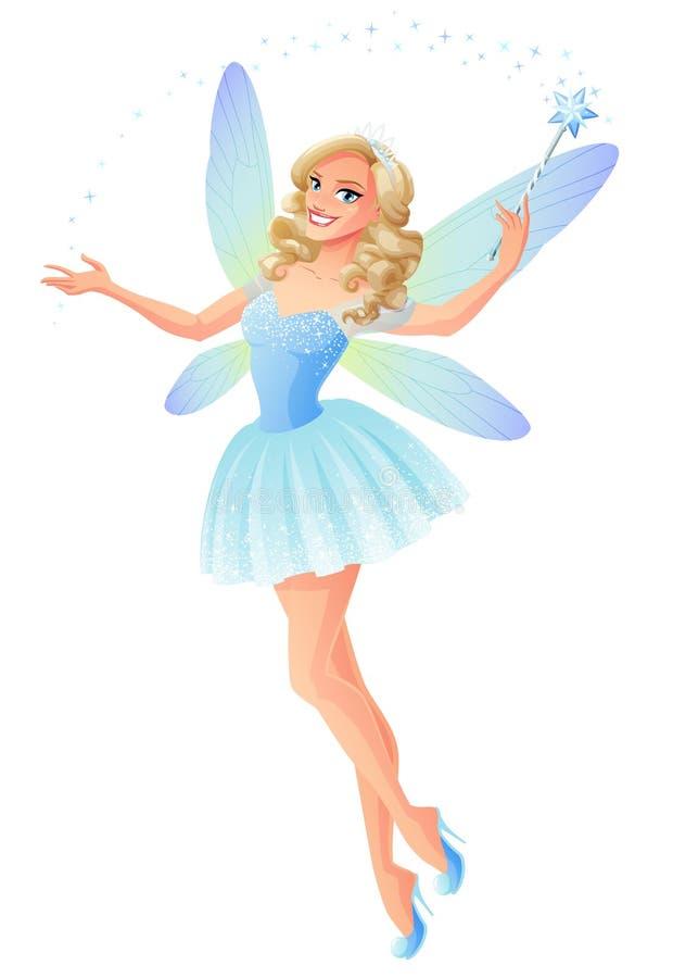 Vector il bello fatato blu con le ali magiche della libellula e della bacchetta illustrazione vettoriale