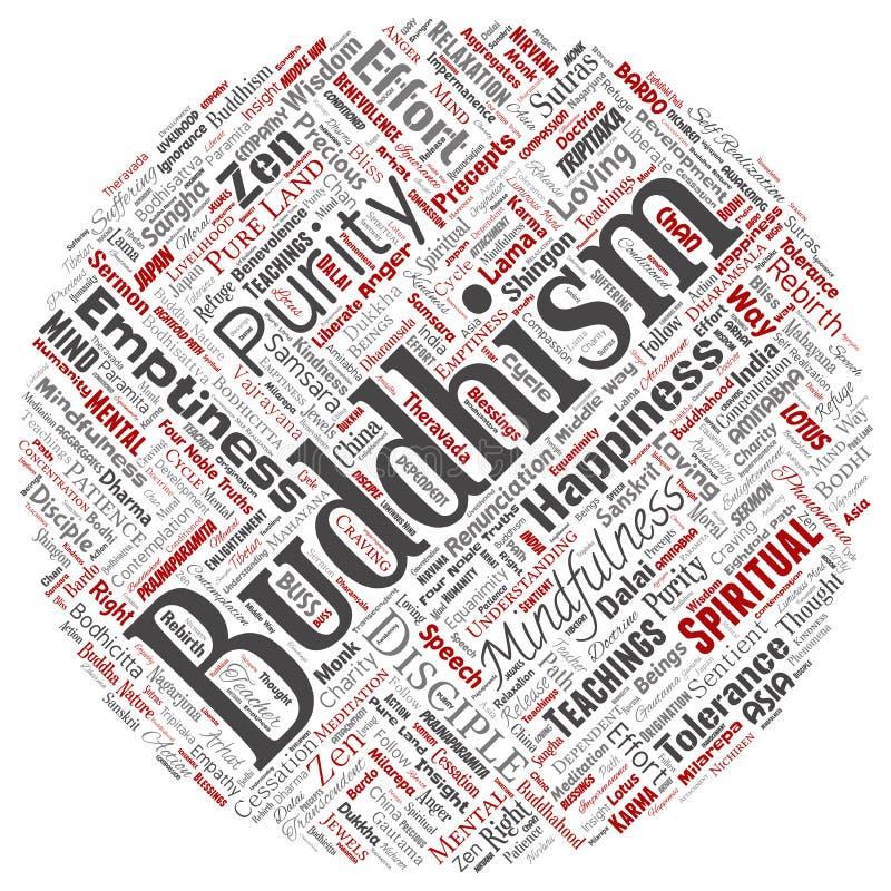 Vector il buddismo, la meditazione, il chiarimento, karma illustrazione di stock