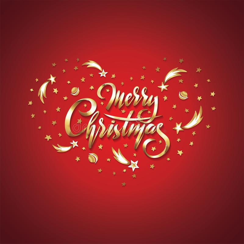 Vector il Buon Natale dorato del testo nel cuore delle stelle cadenti, dei pianeti, delle comete e delle galassie su fondo rosso  royalty illustrazione gratis