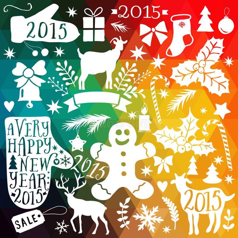 Vector il Buon Natale la raccolta, le icone del pacco del nuovo anno, scarabocchi che l'elemento per il Natale progetta Insieme d illustrazione di stock