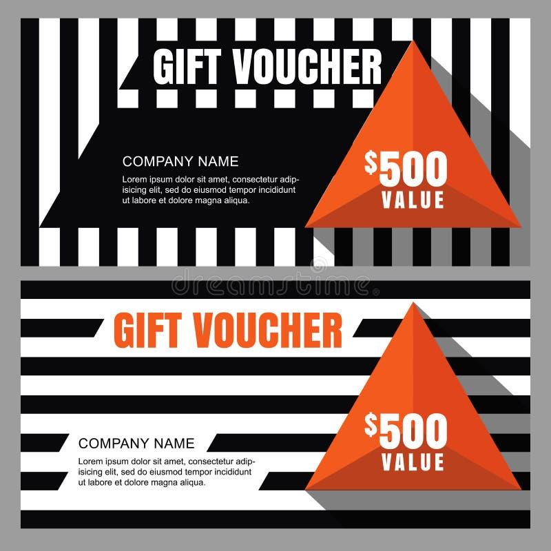 Vector il buono di regalo con il modello a strisce e la piramide arancio royalty illustrazione gratis