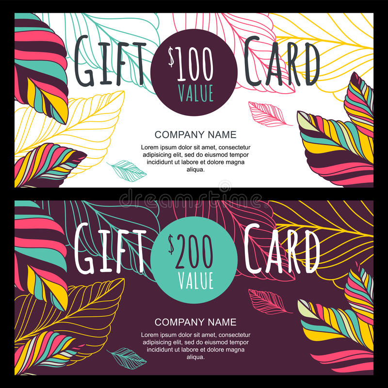 Vector il buono di regalo, modello della carta con Au disegnato a mano multicolore illustrazione vettoriale