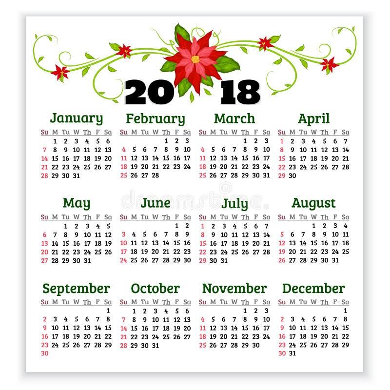 Vector il calendario 2018 anni con i fiori della stella di Natale Inizio di settimana illustrazione vettoriale