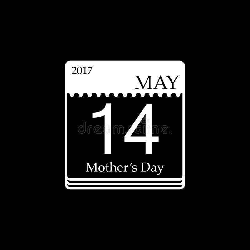 Vector il calendario del giorno del ` s della madre, il 14 maggio 2017 illustrazione di stock