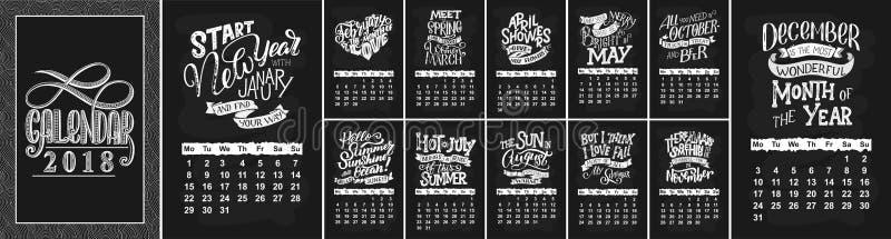 Vector il calendario per i mesi 2 0 1 8 Citazioni disegnate a mano dell'iscrizione per progettazione del calendario fotografia stock