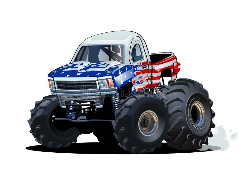 Vector il camion di mostro del fumetto isolato su fondo bianco illustrazione vettoriale
