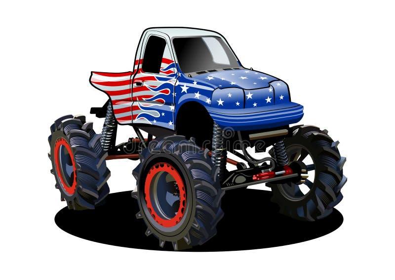 Vector il camion di mostro del fumetto isolato su fondo bianco royalty illustrazione gratis