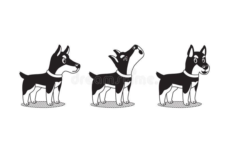 Vector il cane di inu di shiba del personaggio dei cartoni animati e le pose bianche del cane del doberman del personaggio dei ca royalty illustrazione gratis