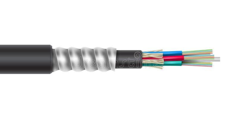 Vector il cavo rivestito a fibra ottica con la struttura di collegamento dell'armatura illustrazione di stock