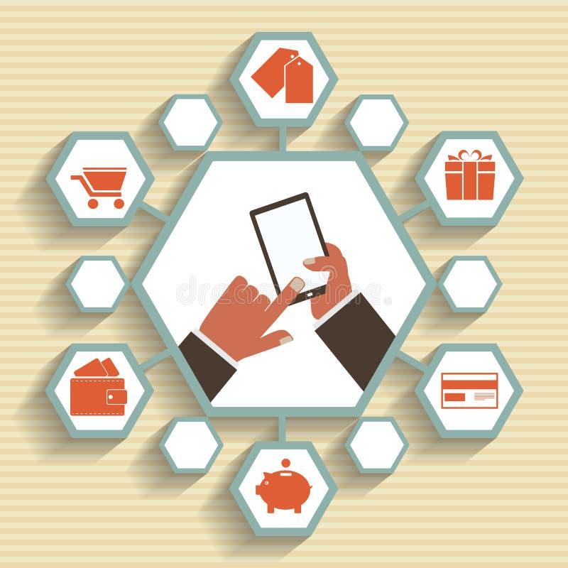 Vector il cellulare app - invii con la posta elettronica l'introduzione sul mercato e la promozione. illustrazione vettoriale