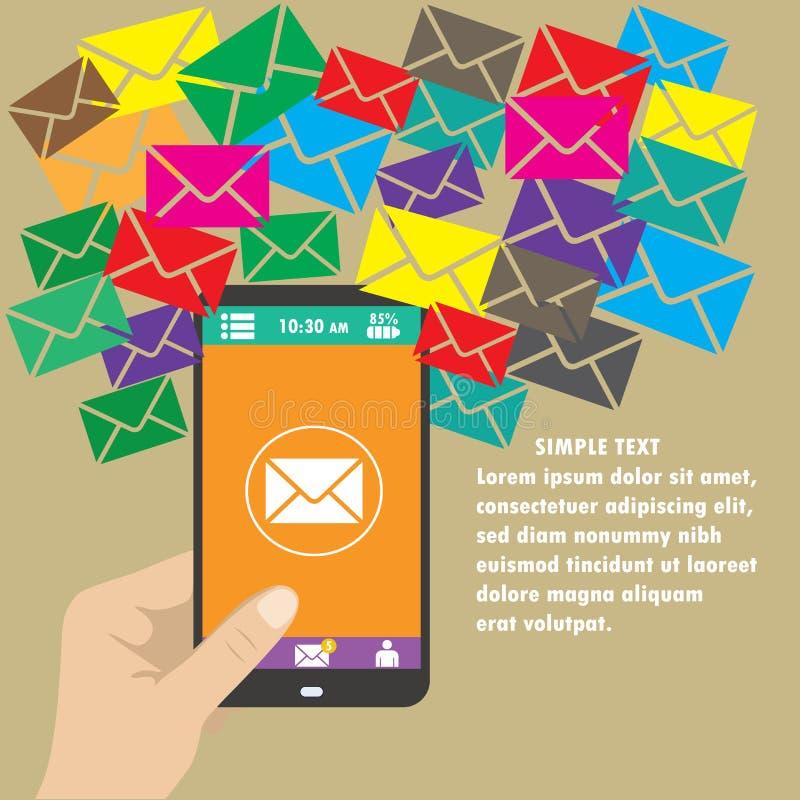 Vector il cellulare app - invii con la posta elettronica l'introduzione sul mercato e la promozione royalty illustrazione gratis