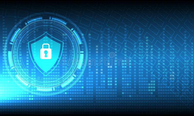 Vector il cerchio di tecnologia con il meccanismo di sicurezza su fondo blu, concetto della protezione illustrazione di stock