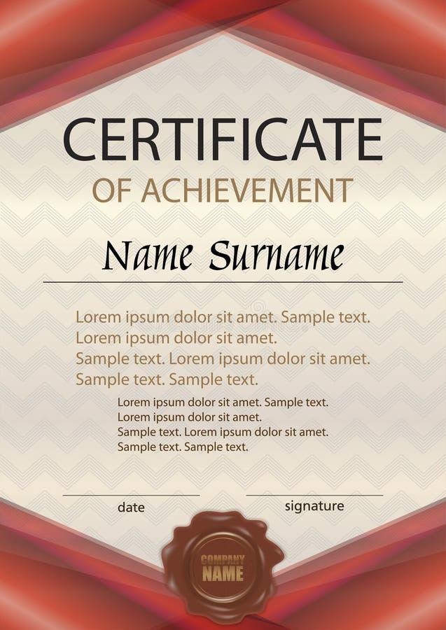 Vector il certificato del risultato o del diploma con la guarnizione della cera temperatura royalty illustrazione gratis
