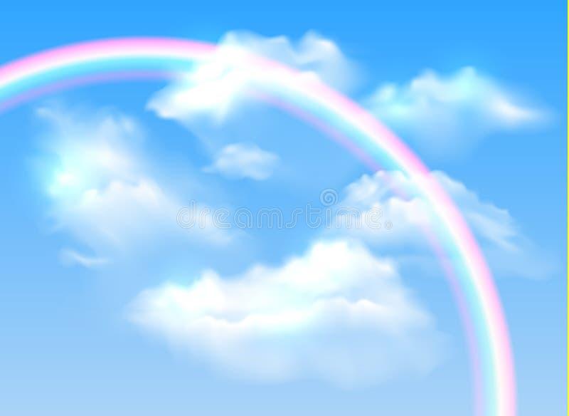 Vector il cielo blu realistico con l'arcobaleno variopinto trasparente e royalty illustrazione gratis