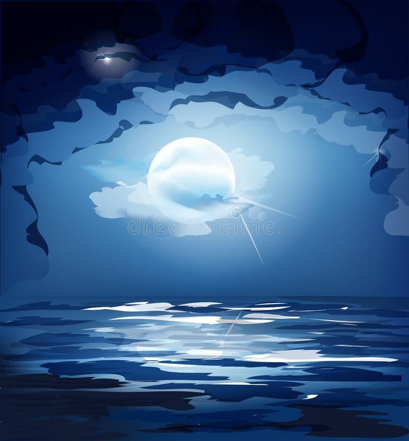 Vector il cielo notturno blu scuro, la luna ed il mare illustrazione di stock