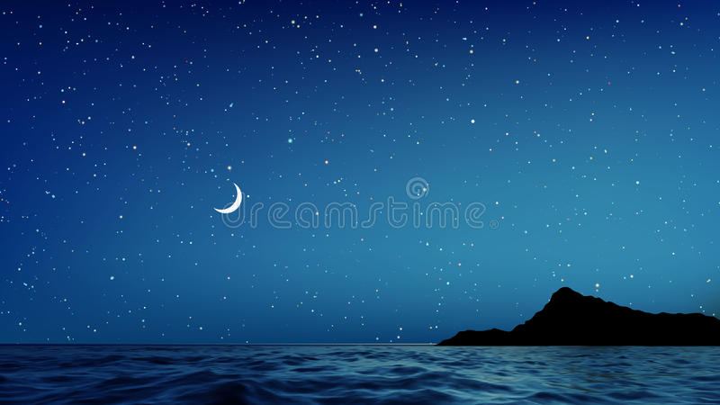 Vector il cielo notturno ed il mare blu con i lotti delle stelle royalty illustrazione gratis