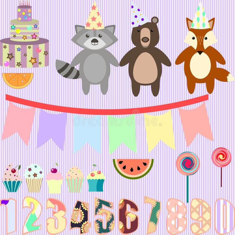 Vector il clipart per la festa di compleanno con gli animali della foresta illustrazione di stock