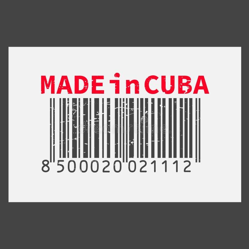 Vector il codice a barre realistico fatto in Cuba su fondo scuro illustrazione di stock