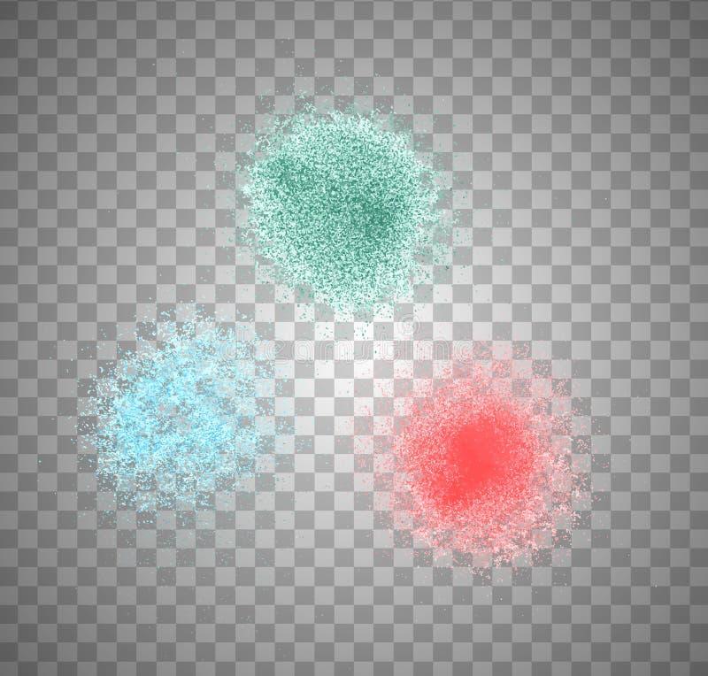 Vector il colore astratto dello spruzzo della pittura su fondo trasparente illustrazione vettoriale